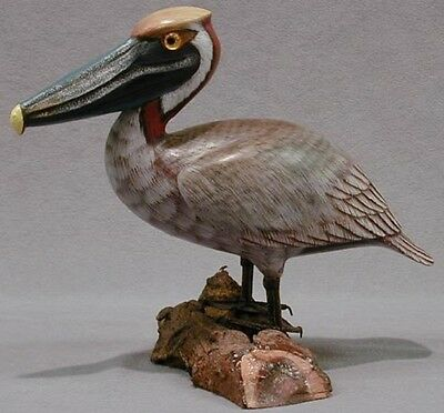 Hand Carved & Painted Wooden Brown Pelican State Bird of Louisiana Artist Signed