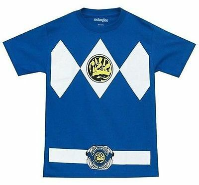 Authentic Mighty Morphin I Am Blue Power Ranger Rangers Mens Costume Shirt S-2Xl (Authentic Power Ranger Costumes)