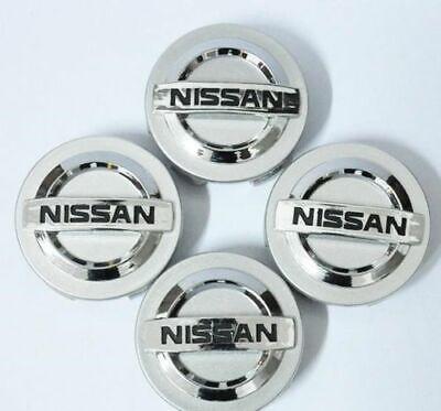 Set of 4 Silver Chrome logo Car Alloy Rim Wheel Center Hub Caps Fit Nissan 54 mm