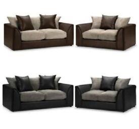 3 + 2 and R/L corner dino jumbo cord byron sofa set in grey black bworn beige