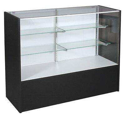 Full Vision 48 Led Light Showcase Display Glass Shelves Black Knockdown New