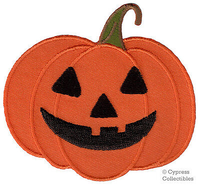 Pumpkin Jack (HALLOWEEN PUMPKIN JACK O LANTERN iron-on applique EMBROIDERED PATCH ORANGE)