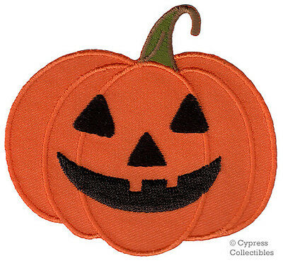 - HALLOWEEN PUMPKIN JACK O LANTERN iron-on applique EMBROIDERED PATCH ORANGE new