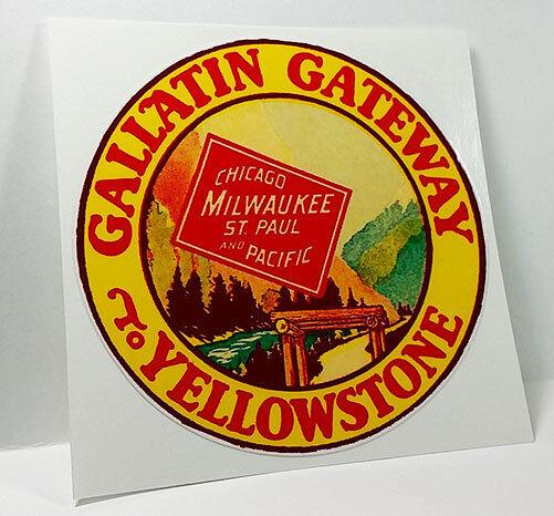 GALLATIN GATEWAY TO YELLOWSTONE Vintage Style Travel Decal, Vinyl STICKER, Label