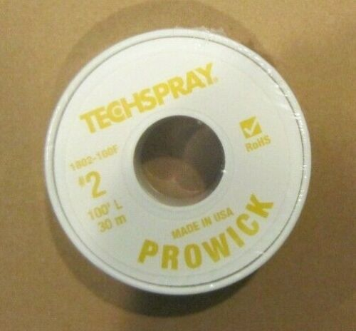 "TECHSPRAY ProWick 1802-100F YYellow #2 Flux Desoldering Braid (100 Ft.) 0.055"" W"