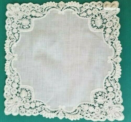 """VINTAGE HAND MADE BRUSSELS TAPE LACE HANDKERCHIEF - 12"""" X 12"""""""