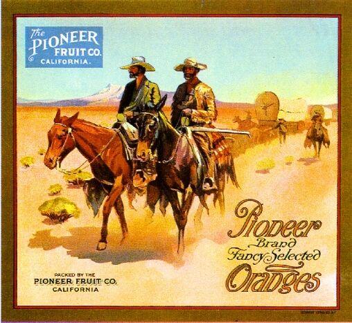 Redlands California Cowboy Pioneer Orange Citrus Fruit Crate Label Art Print