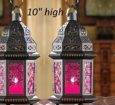 2 Hot pink black Moroccan shabby Candle holder Lantern Lamp wedding centerpiece