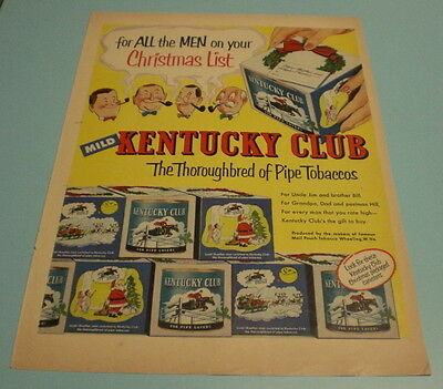 1945 KENTUCKY CLUB PIPE TOBACCO ORIGINAL AD PRINT