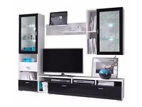High gloss wall unit (TV stand, cabinets, shelf)