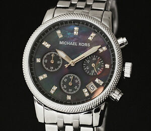 MICHAEL-KORS-MK5021-SILVER-BLACK-DIAL-CHRONOGRAPH-LADIES-DESIGNER-WATCH-RRP-249
