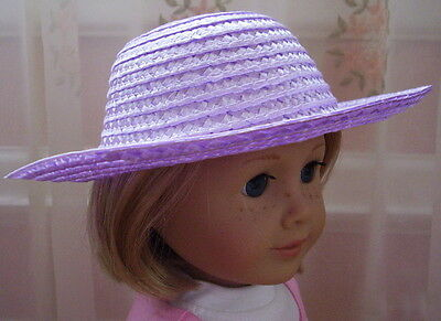 "Lovvbugg Lavender Purple Straw Hat for 18"" American Girl Doll Accessory"
