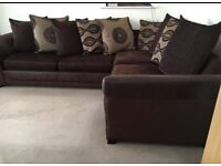 Brown Corner sofa with pull out sofa bed