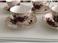 Various Vintage Red Roses and Gold Gilt Teaset - 10pc set