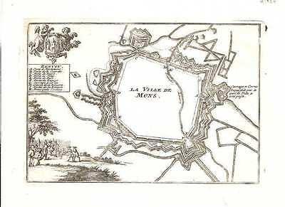 Antique map, La Ville de Mons