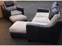 L shaped sofa, armchair and footstool