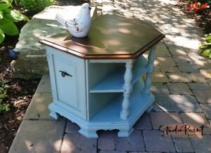 Painted and Refinished Solid Maple Country Chic End/Night Table