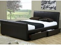 Brand New Kingsize Chocolate Sleigh Bed Frame with Storage
