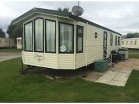 Caravan for hire on Presthaven beach resort, North Wales