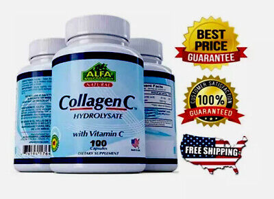 COLLAGEN ColagenoALFA Hydrolysate with Vitamin C  ANTIANGING Colageno 100 tabs Multivitamin 100 Tabs