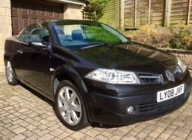 Black Renault Megane Convertible 1.6 petrol, 2008. Low mileage under 58,000. MOT to end of Aug 17