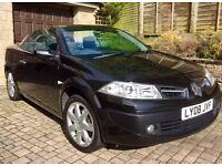 Black Renault Megane Convertible 1.6 petrol, 2008. Low mileage under 58,000. MOT to end of Aug 17