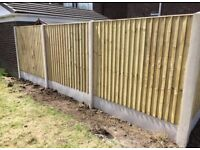 Straight Top * High Quality * Feather Wooden Edge Fence Panels