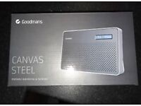 Goodmans Canvas Steel Portable DAB Mains or Wireless Radio