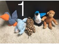 Set of 5 TY Beanie Babies
