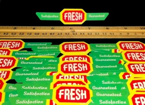 "PACK OF 100 MINI 4 1/2"" FRESH BANNERS! FOR FOOD DISPLAY OR CANDY VENDING MACHINE"
