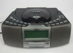 IHS Wedge AM FM CD Player USB & SD Card Slot Clock Radio Dual Alarm  A4116.