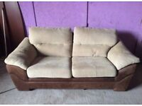 Cream/Brown lovely condition 2/3 seater settee double sofa bed can deliver