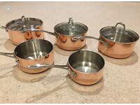 Set of NEW copper ply saucepans