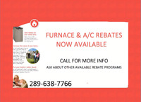 Furnace Rebates Now Available-Contact Us For More Info