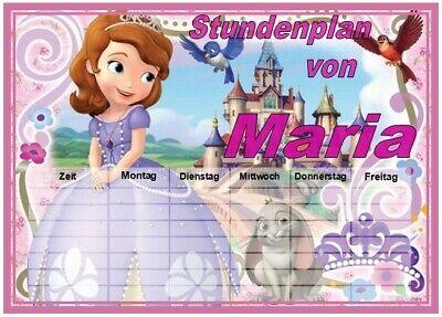 ♥ Stundenplan ♥ SOFIA die ERSTE ♥ abwischbar ♥ DIN A4 ♥ mit/ohne Wunsch Name  ()