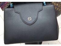 Black genuine leather louis vuitton handbag LV