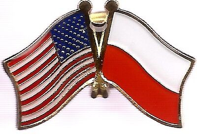 LOT OF 3 Poland Friendship Flag Lapel Pins - Polish Crossed Flag Pin