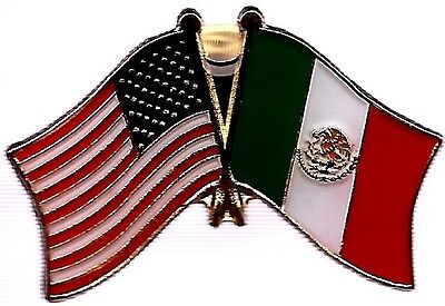 LOT OF 3 Mexico Friendship Flag Lapel Pins - Mexican Crossed Flag Pin