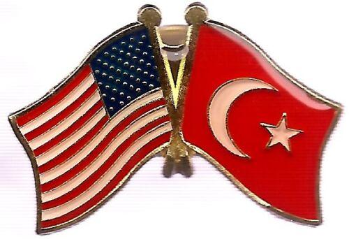 LOT OF 12 Turkey Friendship Flag Lapel Pins - Turkish Crossed Flag Pin