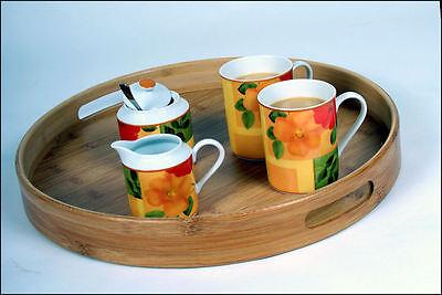 Bambus Tablett rund - 2er Set - Holz Serviertablett Betttablett Gläsertablett
