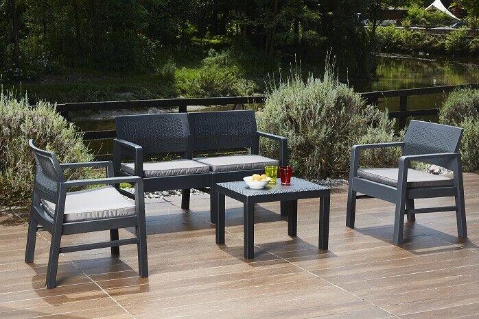 Garden Furniture - KILIMANJARO 4 PC TABLE 2 SEAT SOFA & 2 CHAIRS RATTAN GARDEN FURNITURE BISTRO SET
