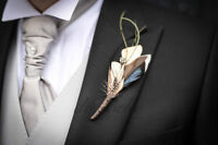 Feather Boutonniere made to order-- groom groomsmen wedding