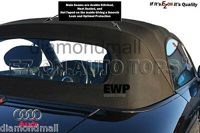 E-Z ON Audi TT 2000-2006 Convertible Soft Top Replacement Black Stayfast Cloth