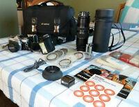 Olympus OM-2 SLR/case/lens/filters/bag/flash