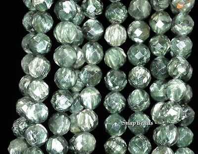 - 8MM RUSSIAN SERAPHINITE GEMSTONE AA GREEN FACETED ROUND LOOSE BEADS 7.5