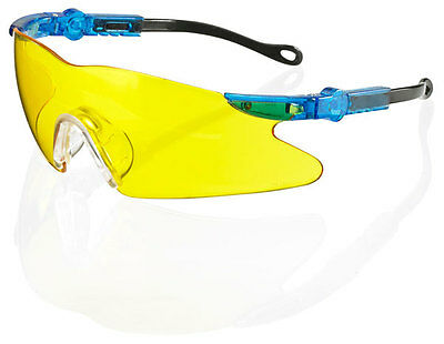 B Brand NEVADA Safety Eye Protection Specs/Glasses YELLOW Lens Free Cord