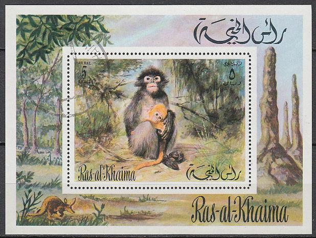 Ras al Khaima 1972 used Bl.112 Tiere Animals Afrika Africa Fauna Affen Monkeys
