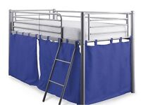 Tesco mid sleeper metal bed frame with blue curtains