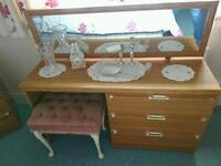 Teak wood dressing table with stool