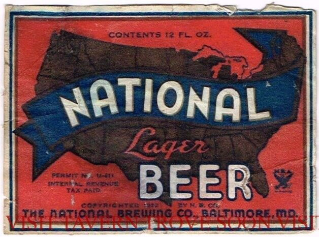 Scarce 1930s National Lager Baltimore U-permit Beer label Tavern Trove